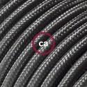 Cavo Elettrico rotondo rivestito in tessuto effetto Seta Tinta Unita Grigio Scuro RM26
