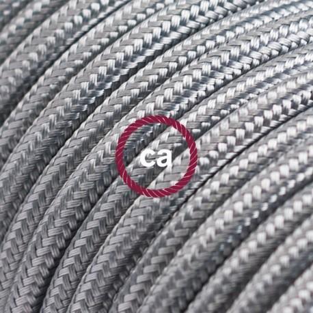 Cavo Elettrico rotondo rivestito in tessuto effetto Seta Tinta Unita Argento RM02