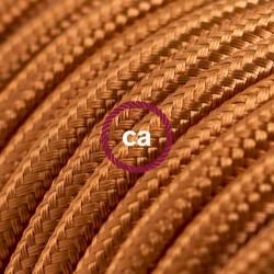 Cavo Elettrico rotondo rivestito in tessuto effetto Seta Tinta Unita Whiskey RM22