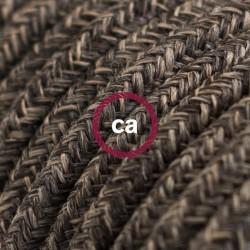 Cavo Elettrico rotondo rivestito in Lino Naturale Marrone RN04
