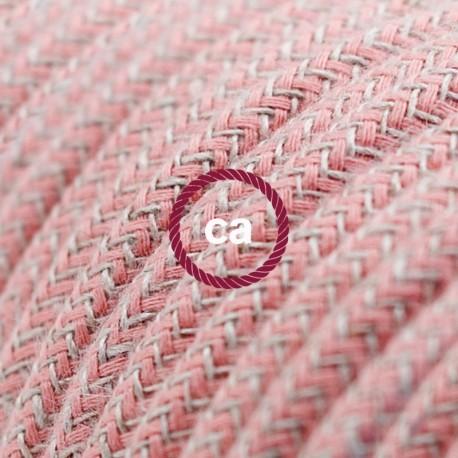 Cavo Elettrico rotondo rivestito in Cotone Stripes color Corteccia e Lino Naturale RD53Cavo Elettrico rotondo rivestito in Coton