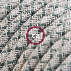 Cavo Elettrico rotondo rivestito in Cotone Losanga color Verde Timo e Lino Naturale RD62