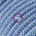 Cavo Elettrico rotondo rivestito in Cotone ZigZag Blu Steward e Lino Naturale RD75