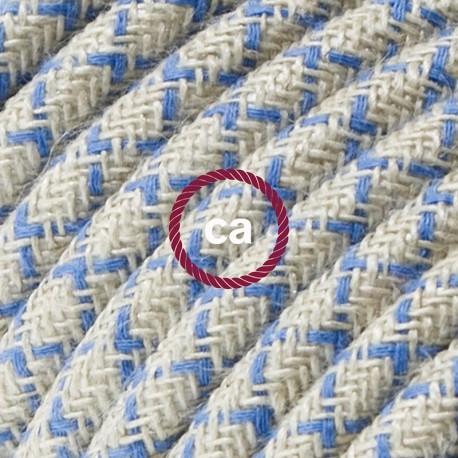Cavo Elettrico rotondo rivestito in Cotone Losanga Blu Steward e Lino Naturale RD65