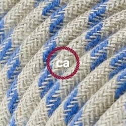 Cavo Elettrico rotondo rivestito in Cotone Stripes Blu Steward e Lino Naturale RD55