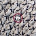 Cavo Elettrico rotondo rivestito in Cotone Losanga color Antracite e Lino Naturale RD64