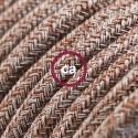 Cavo Elettrico rotondo rivestito in Cotone Tweed Ruggine color Marrone, Lino Naturale e Rifinitura Glitter RS82