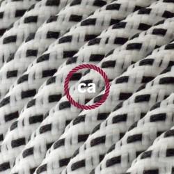 Cavo Elettrico rotondo rivestito in tessuto effetto 3D in rilievo Stracciatella RT14