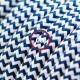 Cavo Elettrico rotondo rivestito in tessuto effetto Seta ZigZag Blu RZ12