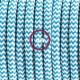 Cavo Elettrico rotondo rivestito in tessuto effetto Seta ZigZag Turchese RZ11