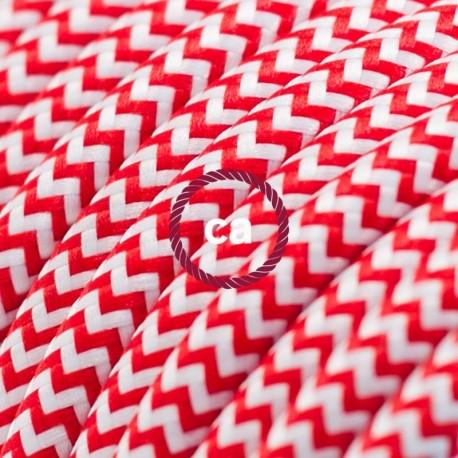 Cavo Elettrico rotondo rivestito in tessuto effetto Seta ZigZag Rosso RZ09