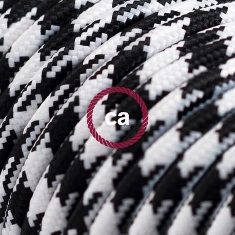 Cavo Elettrico rotondo rivestito in tessuto effetto Seta Bicolore Nero RP04