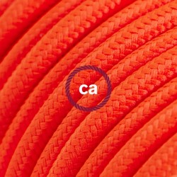 Cavo Elettrico rotondo rivestito in tessuto effetto Seta Tinta Unita Arancione Fluo RF15