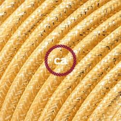 Cavo Elettrico rotondo rivestito in tessuto effetto Seta Tinta Unita Glitterato Oro RL05