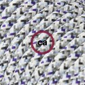 Cavo Elettrico rotondo rivestito in tessuto effetto Seta RX04 Pixel Ghiaccio