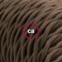 Cavo Elettrico trecciato rivestito in Cotone Tinta Unita Marrone TC13