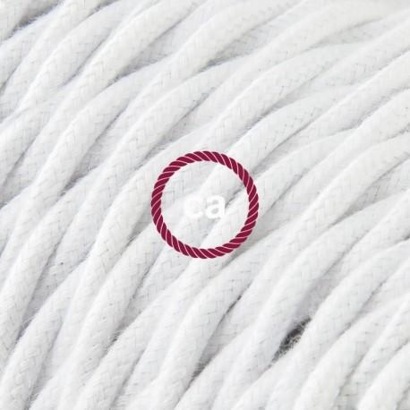 Cavo Elettrico trecciato rivestito in Cotone Tinta Unita Bianco TC01