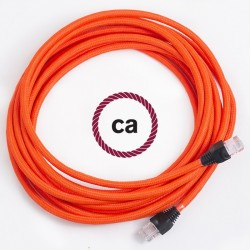 Cavo Lan - Ethernet Cat 5e - RJ45 rotondo rivestito in tessuno effetto Seta Tinta Unita Arancione Fluo RF15