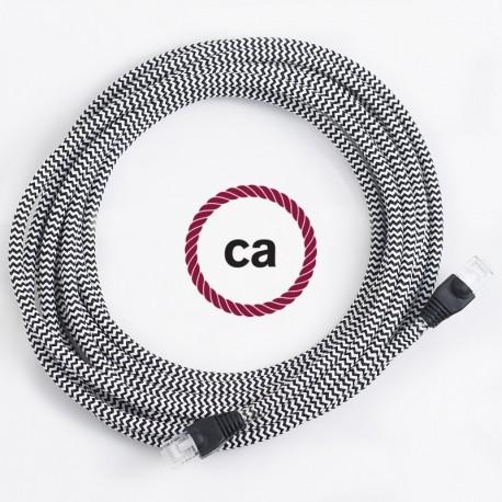 Cavo Lan - Ethernet Cat 5e - RJ45 rotondo rivestito in tessuno effetto Seta ZigZag Nero RZ04