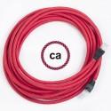 Cavo Lan - Ethernet Cat 5e - RJ45 rotondo rivestito in tessuno effetto Seta Tinta Unita Rosso RM09