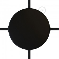 Kit rosone in metallo Nero 120 mm 4 fori laterali, completo di accessori