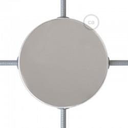 Kit rosone in metallo Nero 120 mm 4 fori laterali, completo di accessoriKit rosone in metallo Cromato 120 mm 4 fori laterali, co