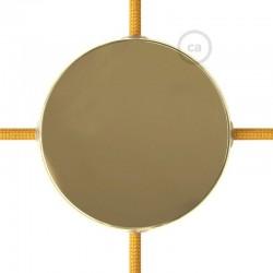 Kit rosone in metallo Ottonato 120 mm 4 fori laterali, completo di accessori