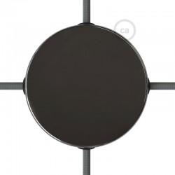 Kit rosone in metallo Nero Perla 120 mm 4 fori laterali, completo di accessori