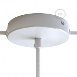 Kit rosone in metallo Bianco 120 mm foro centrale e 2 laterali con serracavo cilindrico, completo di accessori