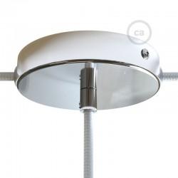 Kit rosone in metallo Nero 120 mm foro centrale e 2 laterali con serracavo cilindrico, completo di accessori