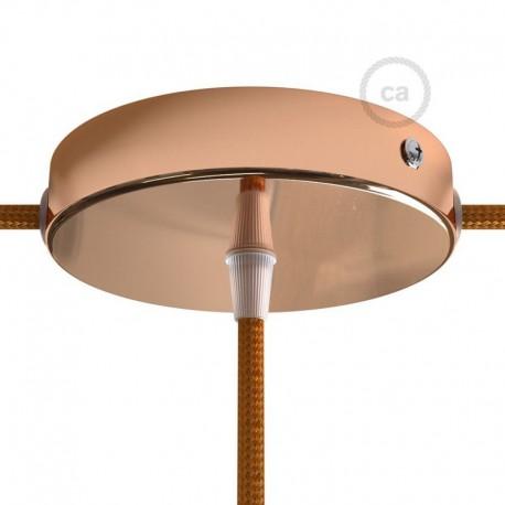 Kit rosone in metallo Ramato 120 mm foro centrale e 2 laterali con serracavo cilindrico, completo di accessori