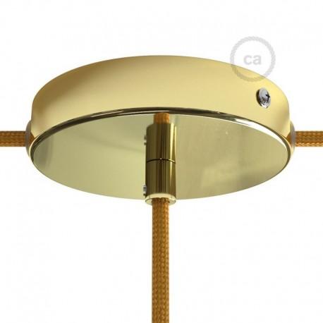 Kit rosone in metallo Ottonato 120 mm foro centrale e 2 laterali, completo di accessori