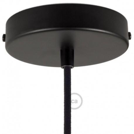 Kit rosone nero 120 mm con serracavo cilindrico in plastica nera.