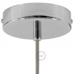 Kit rosone cromato 120 mm con serracavo cilindrico in metallo cromato.