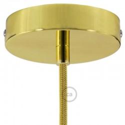 Kit rosone ottonato 120 mm con serracavo cilindrico in metallo ottonato.