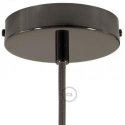 Kit rosone nero perla 120 mm con serracavo cilindrico in metallo nero perla.