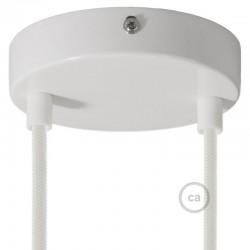 Kit rosone 2 fori bianco 120 mm con serracavi cilindrici in plastica bianca.