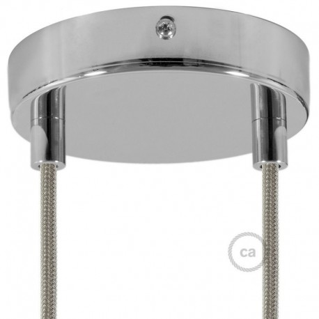 Kit rosone 2 fori nero 120 mm con serracavi cilindrici in plastica nera.Kit rosone 2 fori cromato 120 mm con serracavi cilindric