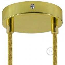 Kit rosone 2 fori ottonato 120 mm con serracavi cilindrici in metallo ottonato.