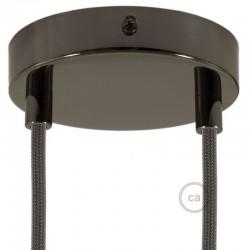 Kit rosone 2 fori nero perla 120 mm con serracavi cilindrici in metallo nero perla.