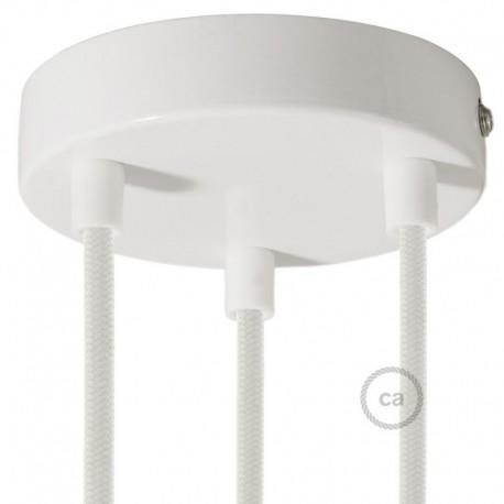 Kit rosone 3 fori bianco 120 mm con serracavi cilindrici in plastica bianca.