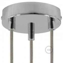 Kit rosone 3 fori cromato 120 mm con serracavi cilindrici in metallo cromato.