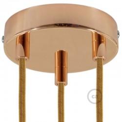 Kit rosone 3 fori ramato 120 mm con serracavi cilindrici in metallo ramato.