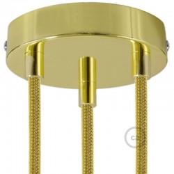 Kit rosone 3 fori ottonato 120 mm con serracavi cilindrici in metallo ottonato.