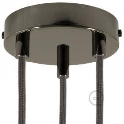Kit rosone 3 fori nero perla 120 mm con serracavi cilindrici in metallo nero perla.