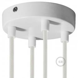 Kit rosone 4 fori bianco 120 mm con serracavi cilindrici in plastica bianca.