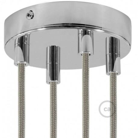 Kit rosone 4 fori cromato 120 mm con serracavi cilindrici in metallo cromato.