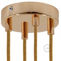 Kit rosone 4 fori ramato 120 mm con serracavi cilindrici in metallo ramato.