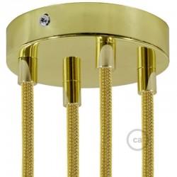 Kit rosone 4 fori ottonato 120 mm con serracavi cilindrici in metallo ottonato.