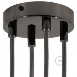 Kit rosone 4 fori nero perla 120 mm con serracavi cilindrici in metallo nero perla.